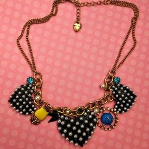 Betsey Johnson Pearl Hearts Necklace